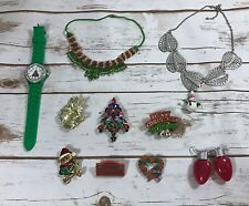 Vintage  To Modern Christmas Costume Jewelry Lot Enamel Rhinestone 9 Pieces