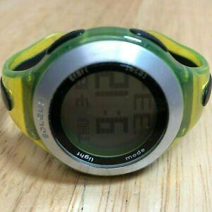 Soleus Lady Green Silver Cuff Bangle Digital Alarm Chrono Watch Hour~New Battery