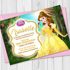 Personalised Disney Princess Birthday Party Invitations - Belle Birthday Invites