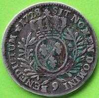 FRANCE LOUIS XV 1/2 ECU AUX BRANCHES D'OLIVIER 1728 9 RENNES