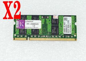 4GB 2 X Kingston 2GB DDR2 800MHz PC2-6400 Notebook Speicher RAM KVR800D2S6/2G