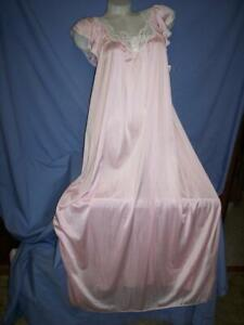 "NWT VTG ""MISS ELAINE"" BEAUTIFUL PINK   NYLON  LONG NIGHTGOWN/LINGERIE sz: 38"