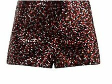 NEW LOOK BELLE HEART REDS SILVER ALL OVER SEQUIN LINED HOT PANTS SHORTS M / 12