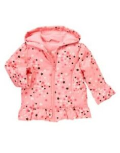 GYMBOREE STAR OF THE SHOW PINK w/ STARS HOODED PUFFER JACKET 6 12 24 2 3 4 5 NWT