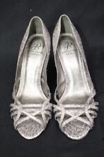 """ADRIANNA PAPELL Silver """"Sparkle"""" Strappy Peep Toe Heels Womens Size 8.5M-B80"""