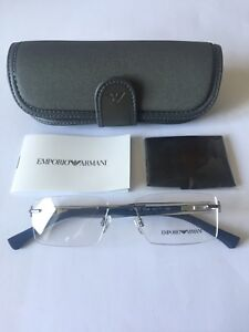 New Emporio Armani Gents Ophthlamin Rimless Frame OEA1013 In C3046 GunMetal/Blue