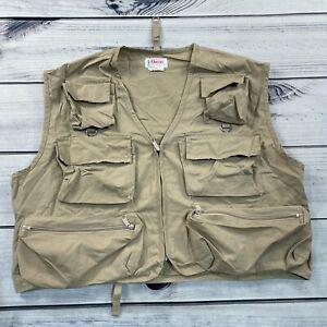 Vintage Orvis Fly Fishing Utility Vest Mens XL Beige Zip Pocket Hunting Hiking