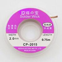 2.0 mm Desoldering Braid Solder Remover Copper Wick 1.5m Spool Wire Cable