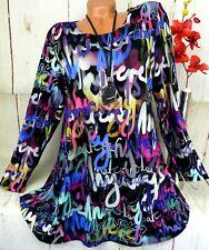 Leins Designer Kleid Tunika Bluse Shirt Top Longshirt A-Linie Bunt XXL 46 48