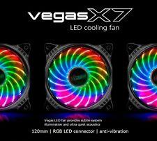 Akasa Vegas X7, 120mm 12cm RGB 18 x Led Ultra Quiet PC Case Fan, 41.9 CFM