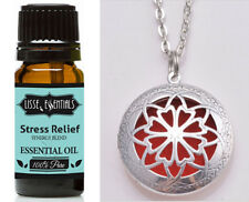 Essential Oil Diffuser Necklace, Antique Silver & 10 ml Stress Relief Blend