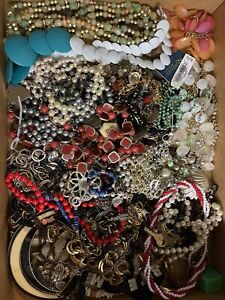 Junk Drawer Jewelry Box Necklace Lot With Broken Pieces And Some Wearable