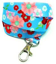 Spirius FLOWERS IN BLUE breakaway Lanyard neck strap for id badge holder phone