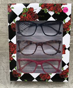Set of 3 Betsey Johnson Readers Thick Frame Reading Glasses +1.50 New In Box