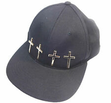 Black Cap Girls Golden Colour Crosses Snapback Swag Cool Rocker Yolo New (ST80)