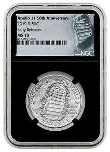 2019-D APOLLO 11 50TH ANNIV. HALF DOLLAR NGC EARLY RELEASES MS 70 FINEST KNOWN