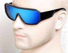 Large Aviator Millionaire Shades Sunglasses Ice Blue Mirror Matte Black BLM 041