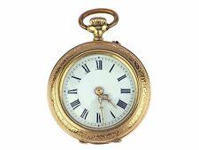 Jugendstil 8 K 333 Gold mechanische Damen Open Face Taschenuhr 30 mm um 1900