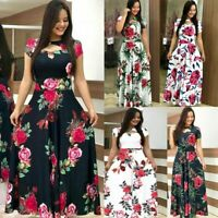 Women Long Canonicals Short Sleeve Party Floral Summer Sexy Fashion Maxi Dress