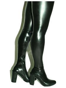 Crotch Latexstiefel Schwarz, Gr. 40 - 47  RV, neu, 11 cm Absatz, Länge 95 cm PL
