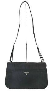 Authentic PRADA Black Nylon Shoulder Bag Purse #38587C
