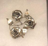 Vintage Designer Signed Lang .925 Sterling Silver Rose Flower Pin Brooch-121