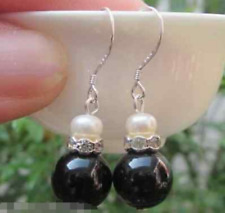 10mm Natural Black Agate 7-8mm White Pearl Sterling Dangle Earrings Silver Stud