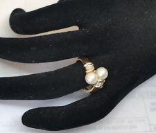 14k YG Genuine Pearl And Diamond Bypass Ring Designer Ring