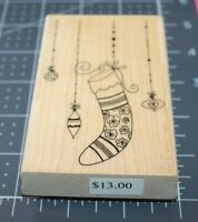 New 2008 Penny Black WINTER GLITTER 3888K Rubber Stamp Christmas Stocking