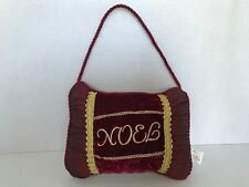 Noel Pillow Door Hanging Ornament Christmas Burgundy Gold Braid Trim Holidays
