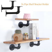 2 Industrial Wall Mount Iron Pipe Shelf Holder Bracket for Wood Floating Shelves