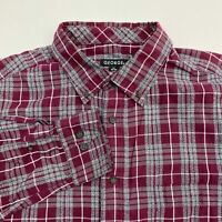 George Button Up Shirt Men's Size Large 42/44 Long Sleeve Maroon Gray Plaid