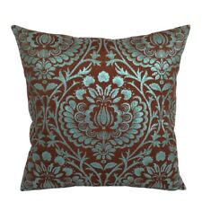 Satin/Lame Damask Brown/Turquoise Decorative/Throw Pillow Case/Cushion Cover