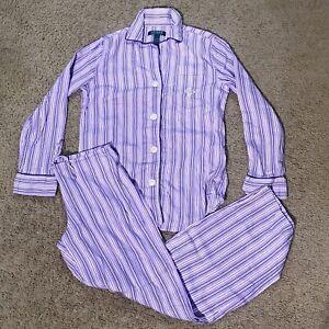 Lauren Ralph Lauren Purple White Stripe Striped Drawstring Pajamas Pajama Set XS