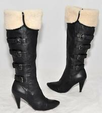 JIGSAW Black Full Grain Genuine Full Leather Fleece Women's Knee Boots Size 37