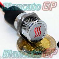 SPIA LED 14mm CON SIMBOLO RISCALDAMENTO metallo 12V ROSSO heater indicator light