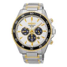 New Seiko Men's Chronograph White Dial Stainless Steel Two Tone Watch SSC446
