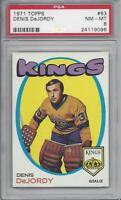 1971-72 Topps hockey card #63 Denis DeJordy, Los Angeles Kings PSA 8 NMMT