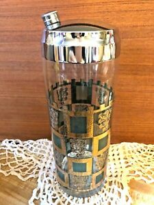 MCM RETRO GLASS COCKTAIL SHAKER MIXER BARWARE W/CHROME LID ~ WV GLASS WESTON