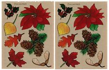 2 Sheets PROVO Craft Winter Fall Leaves Poinsettas Holly Scrapbook Stickers