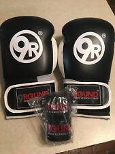 9Round 30 Min Kickbox Fitness,Black/White Boxing Gloves & Hand Wraps, New!