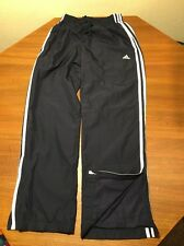 Adidas Mens S Sweat Pants Wind White Stripes Soccer Track Mesh Blue Polyester
