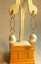 Gold Long 18 K gold  sea pearl designer earrings spring summer!