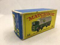 Matchbox Lesney Regular Wheels No. 32 LEYLAND BP Tanker Original Type E Box Only