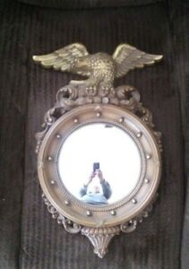 Vintage SYROCO Eagle Federal Convex Bulls Eye Round Bubble Mirror #4410 USA