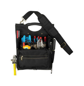 CLC 4 in.W x 15.25 in.H Polyester Electrician's Tool Pouch 21 pocket Black/Tan