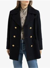 Size 10 Uk New La Redoute Wool Mix Pea Coat With Double-Breasted Buttons Navy