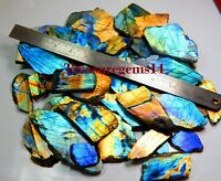 1260Crt NATURAL MULTI FIRE LABRADORITE SPECTROLITE ROCK ROUGH TILE SLAB GEMSTONE