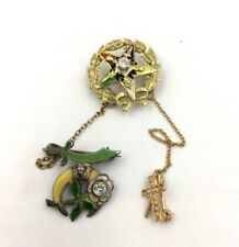 Vintage Masonic Eastern Star Enamel Diamond Pin in 14K Yellow Gold