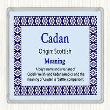 Cadan Name Meaning Drinks Mat Coaster Blue
